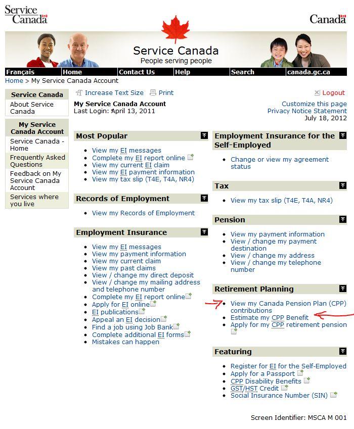 service canada account